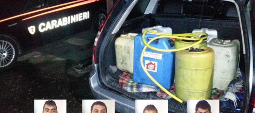 Rubavano gasolio da camion, arrestati 4 rumeni