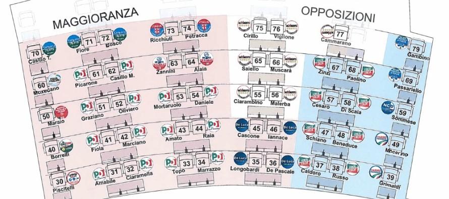 Consiglio regionale Campania: ecco dove siederanno i consiglieri
