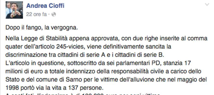 """Frana 1998 –  Andrea Cioffi, senatore M5S: """"Dopo il fango, la vergogna"""""""