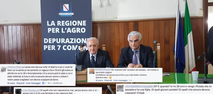 De Luca ai sindaci dell'Agro: «Lavoro ai giovani». E il web si scatena
