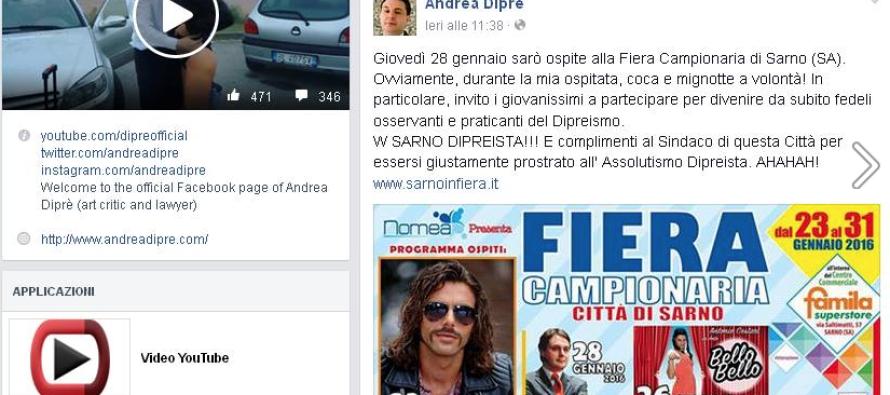 Messaggio choc sul web di Diprè per Sarno ed il Sindaco