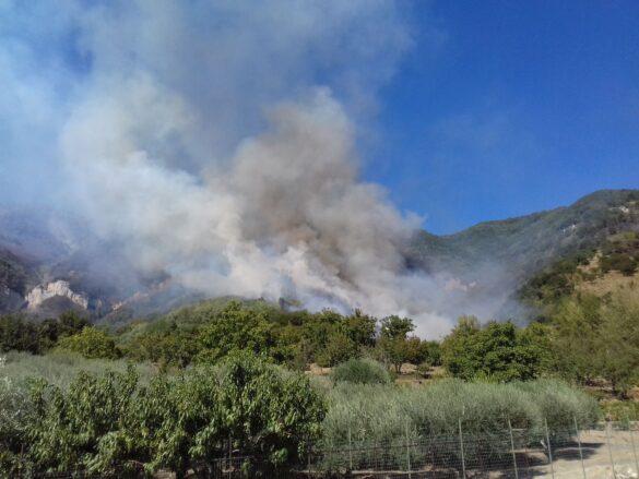 Incendio a Sarno. Le fiamme avvolgono la montagna